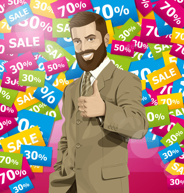 GraphicRiver Vector Business Man With Beard Shows Well Done 10797432