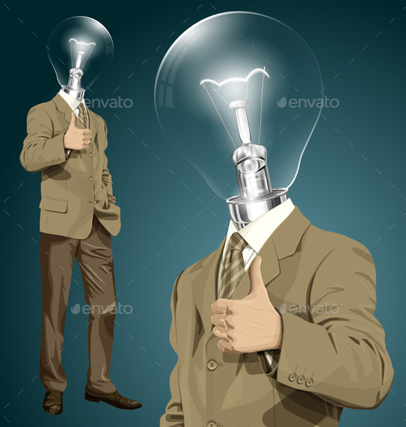 GraphicRiver Vector Lamp Head Business Man Shows Well Done 10797436