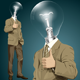 Vector Lamp Head Business Man Shows Well Done - GraphicRiver Item for Sale