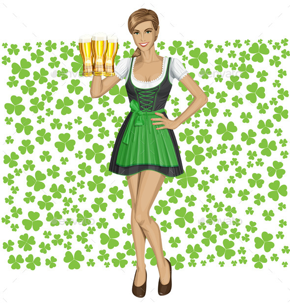 GraphicRiver Vector Woman In Drindl On Saint Patricks Day 10797533
