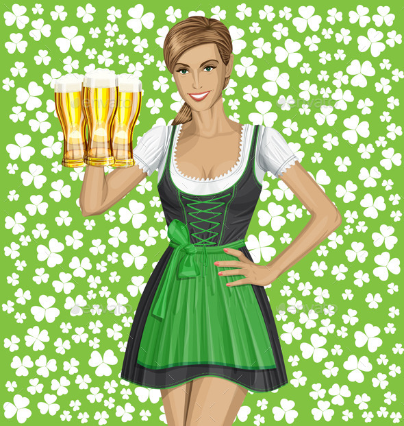 GraphicRiver Vector Woman In Drindl On Saint Patricks Day 10797537