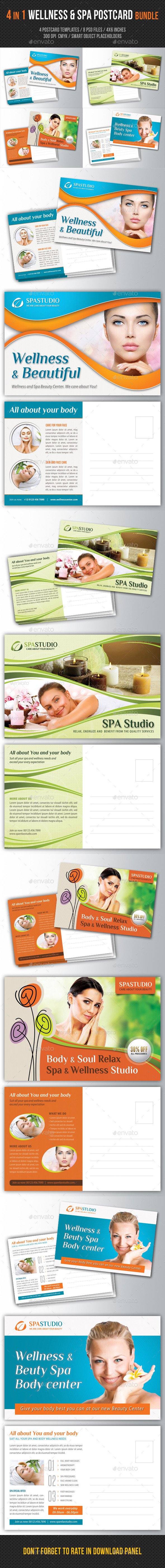 GraphicRiver 4 in 1 Wellness and Spa Postcard Bundle 10798644