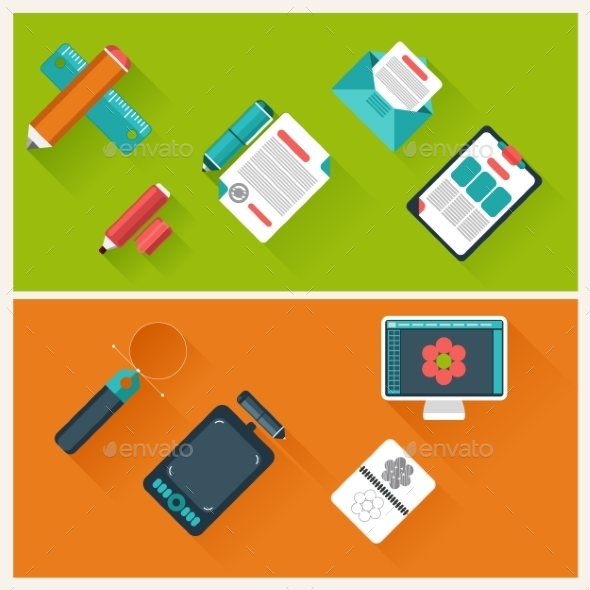 GraphicRiver Workplace with Office Supplies 10798708
