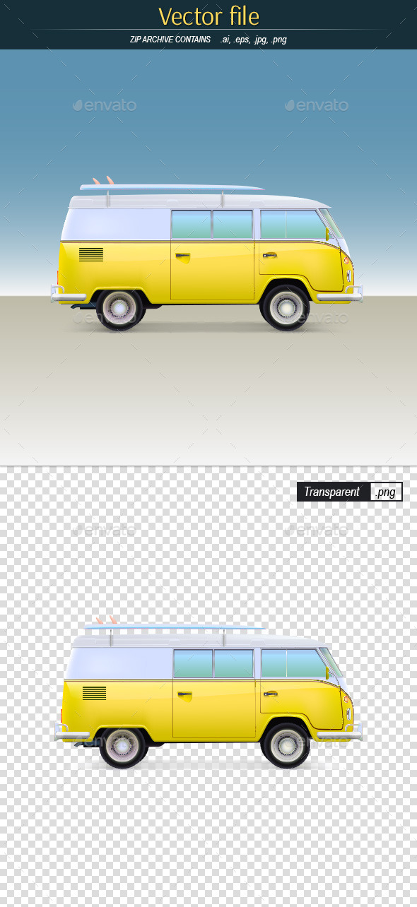 GraphicRiver Classic Yellow Minivan with Surfboard 10798862