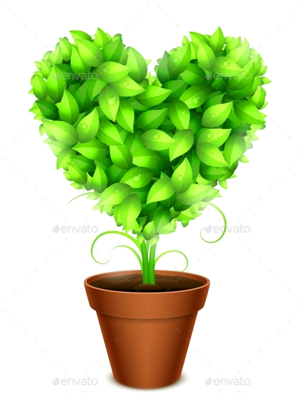 GraphicRiver Green Leaves Heart 10799417