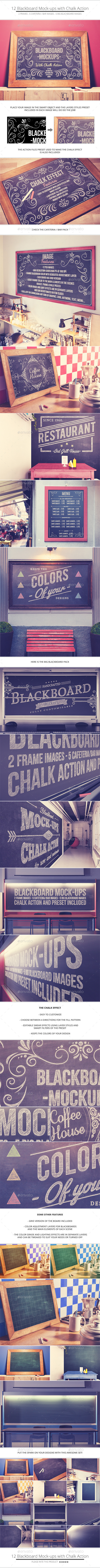 GraphicRiver Blackboard Chalkboard Mock-ups with Chalk Action 10799470