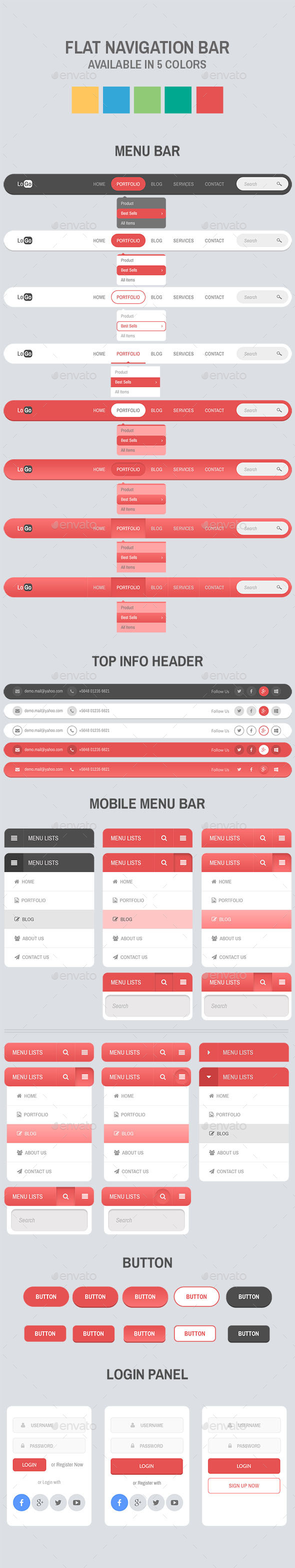 GraphicRiver Flat Navigation Bar 10799507