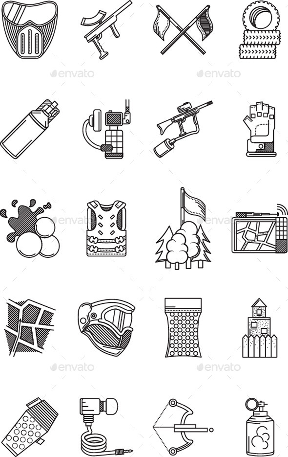 GraphicRiver Icons for Paintball 10799640