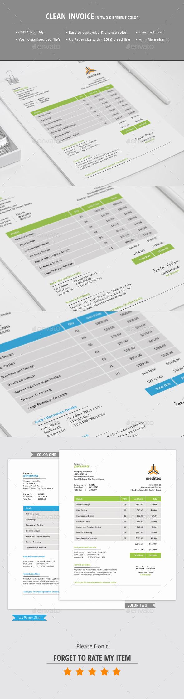 GraphicRiver Clean Invoice Template 10799835