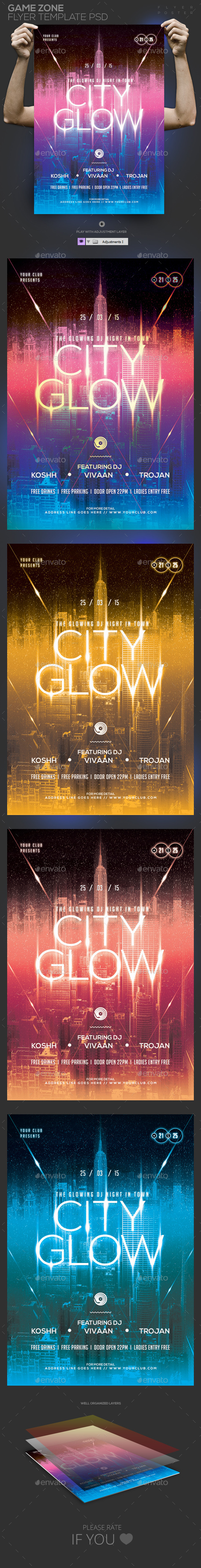 GraphicRiver Glow City Template PSD Flyer Poster 10800508
