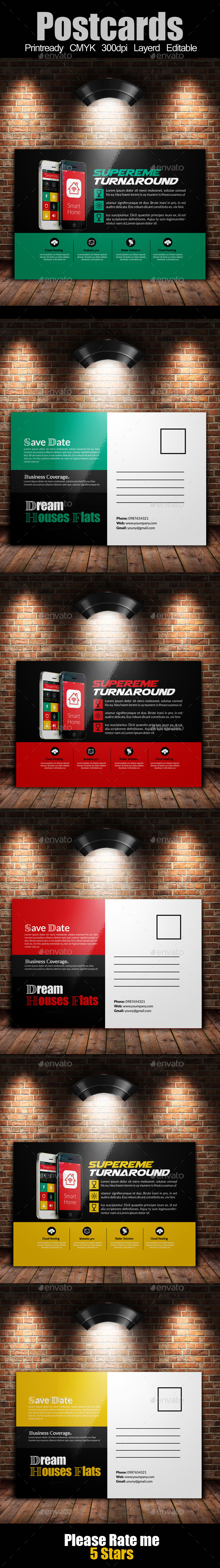 GraphicRiver Mobile App Post Cards Template 10800585