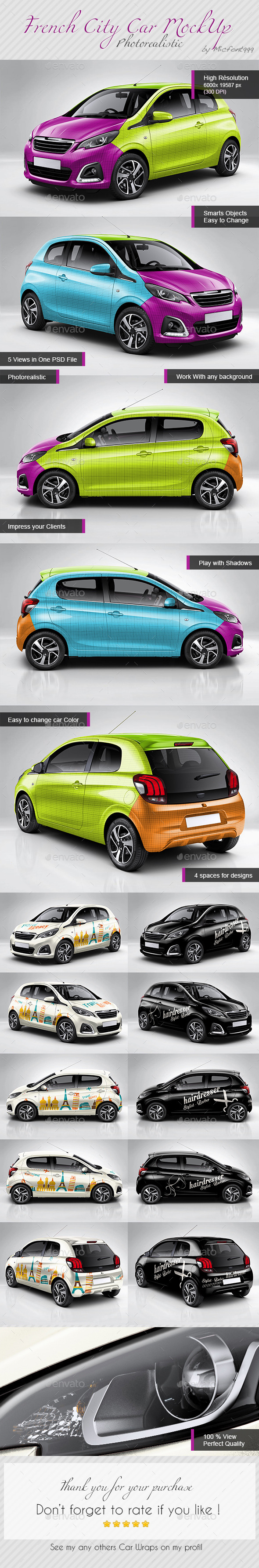 GraphicRiver Photorealistic French City Car Mock-up 10800967