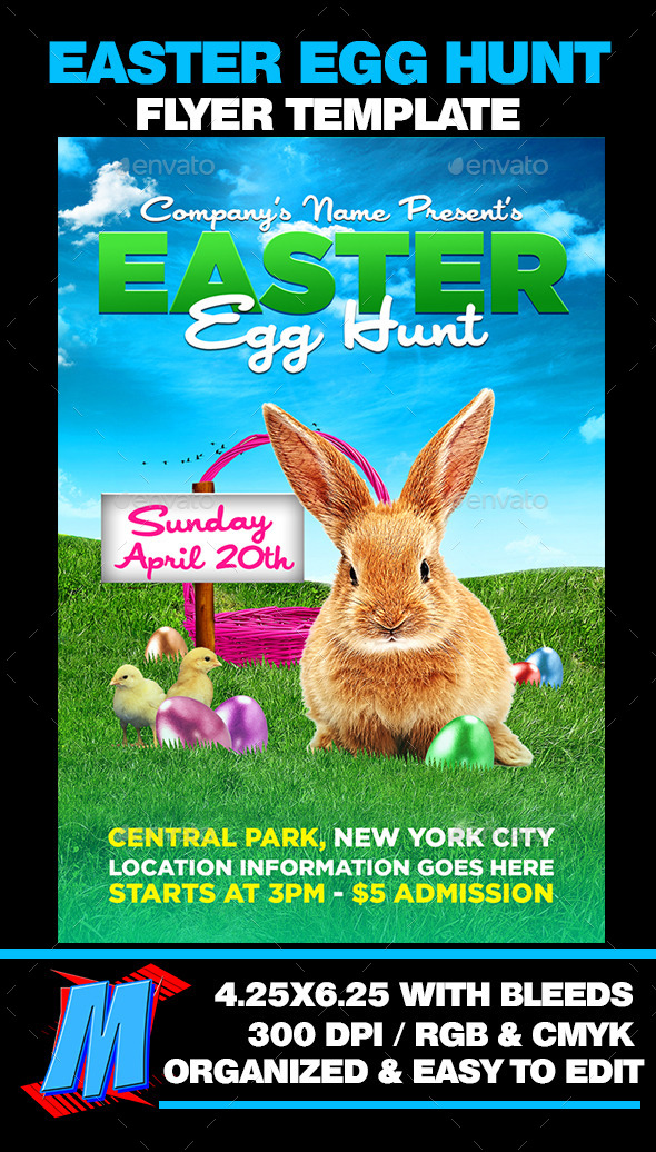 GraphicRiver Easter Egg Hunt Flyer Template 10801089