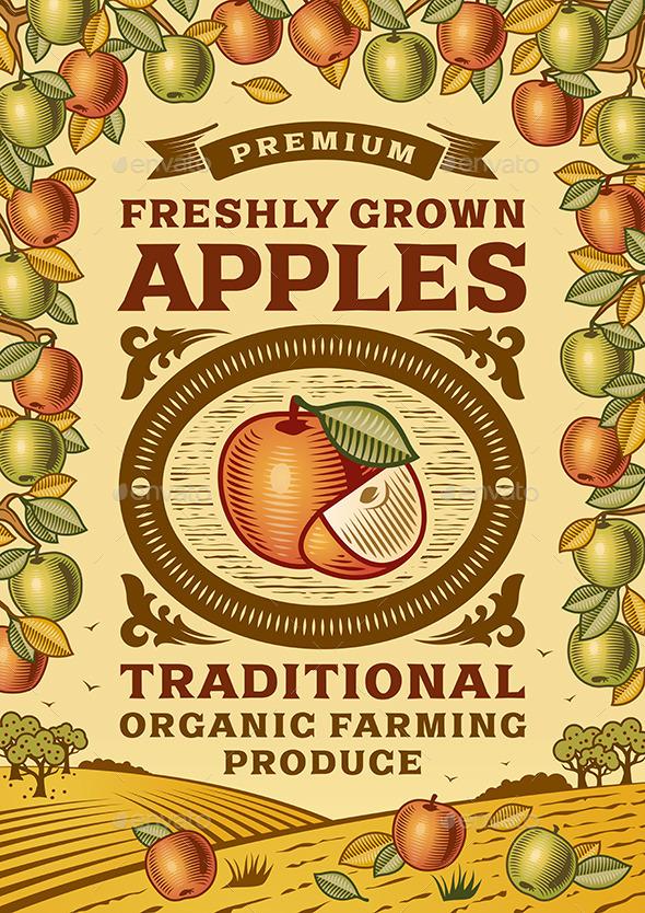 GraphicRiver Retro Apples Poster 10801287