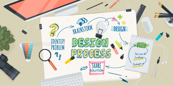 GraphicRiver Flat Design Concept for Design Process 10801384