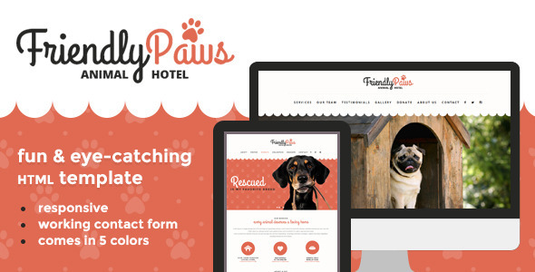 ThemeForest Paws Friendly Animal Hotel HTML Template 8526255