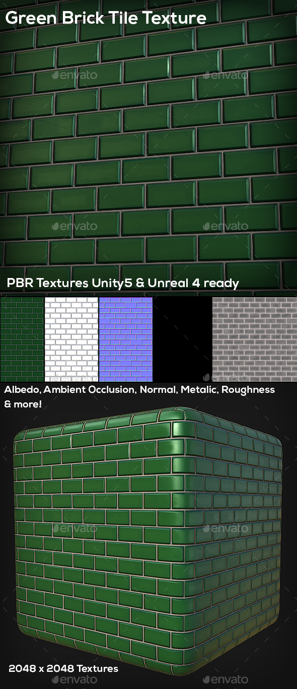 Green Brick Tile Texture - 3DOcean Item for Sale