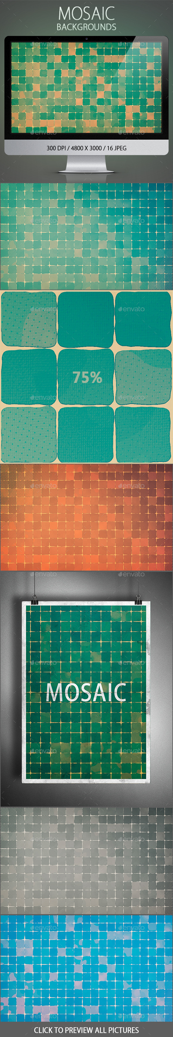 GraphicRiver 16 Mosaic Backgrounds 10802464