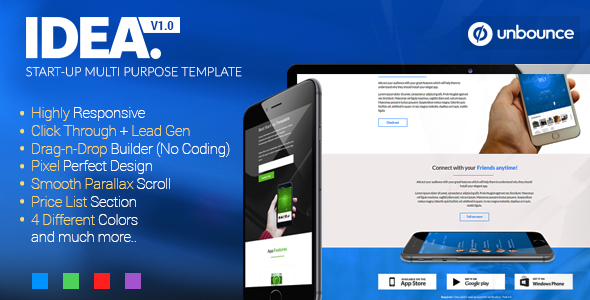 ThemeForest Idea Startup Multi-Purpose Unbounce Template 10802777