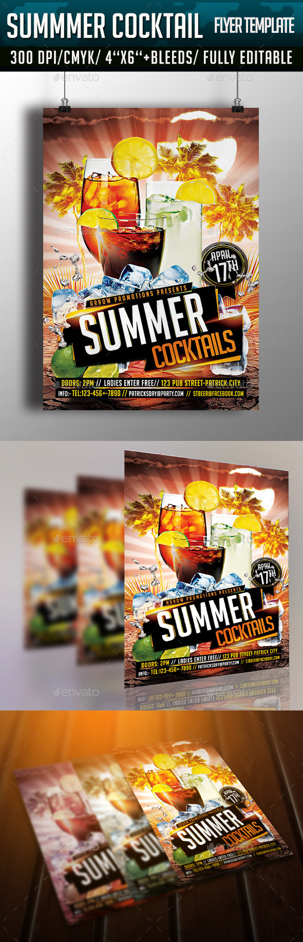 GraphicRiver Summer Cocktail Flyer Template 10802996