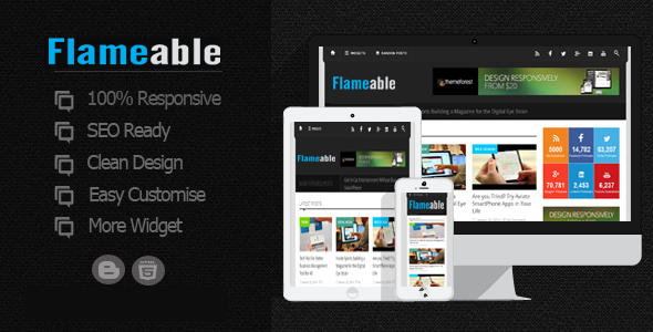 ThemeForest Flameable Responsive Modern Blogger Template 10759153