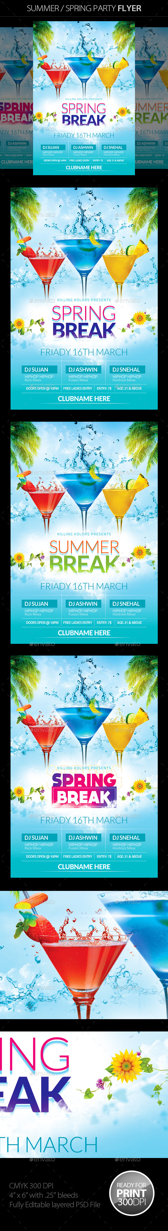 GraphicRiver Spring Summer Party Flyer 10803428