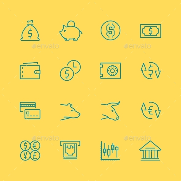 GraphicRiver Vector Business Finance and Stock Exchange Icons 10803602