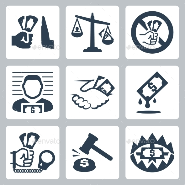 GraphicRiver Corruption Related Icon Set 10803641