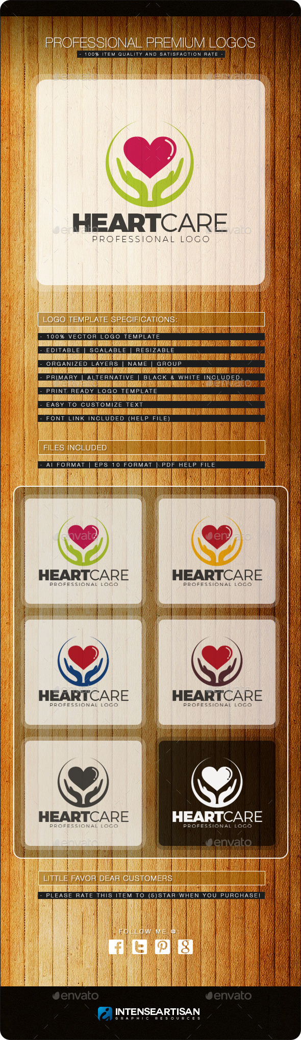 GraphicRiver Heart Care Logo Template 10803642