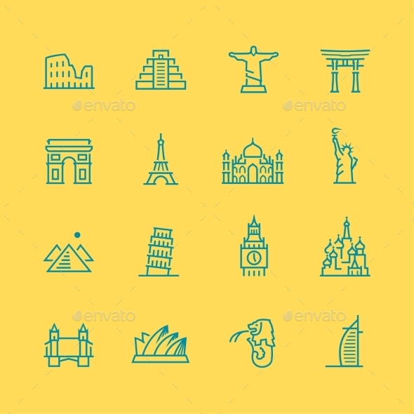 GraphicRiver World Sights Icons 10803664