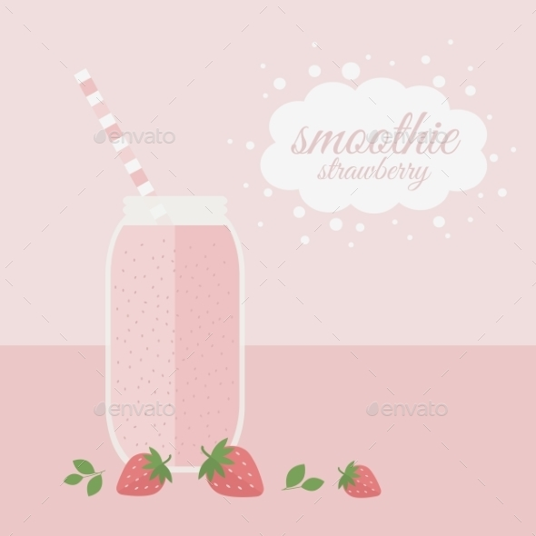 GraphicRiver Strawberry Smoothie in Jar on a Table 10803693