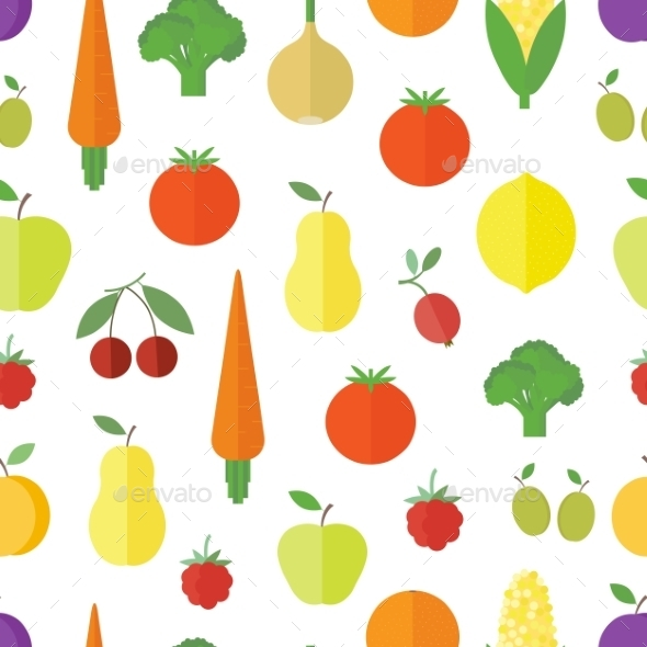 GraphicRiver Seamless Background with Fruits and Vegetables 10803698