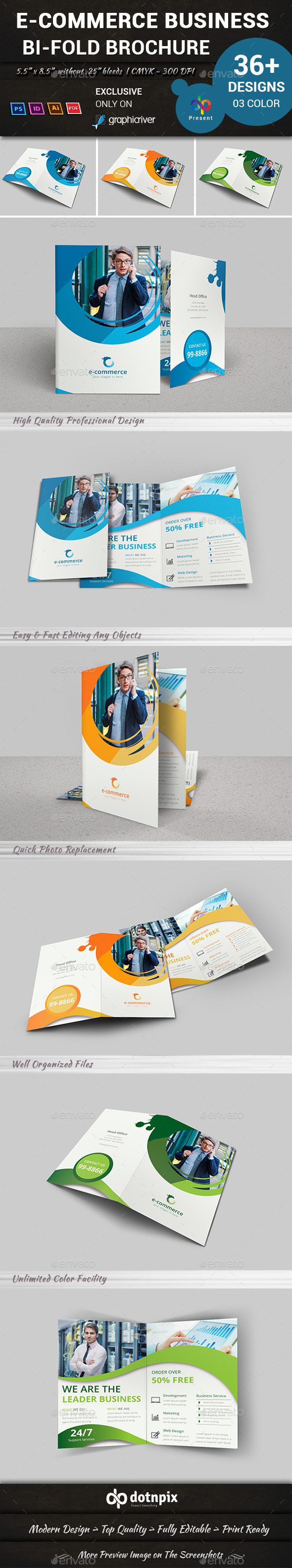 GraphicRiver E-Commerce Business Bi-Fold Brochure 10803868
