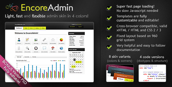 EncoreAdmin - Light, Fast & Flexible Admin Skin - Quick look at EncoreAdmin's key features