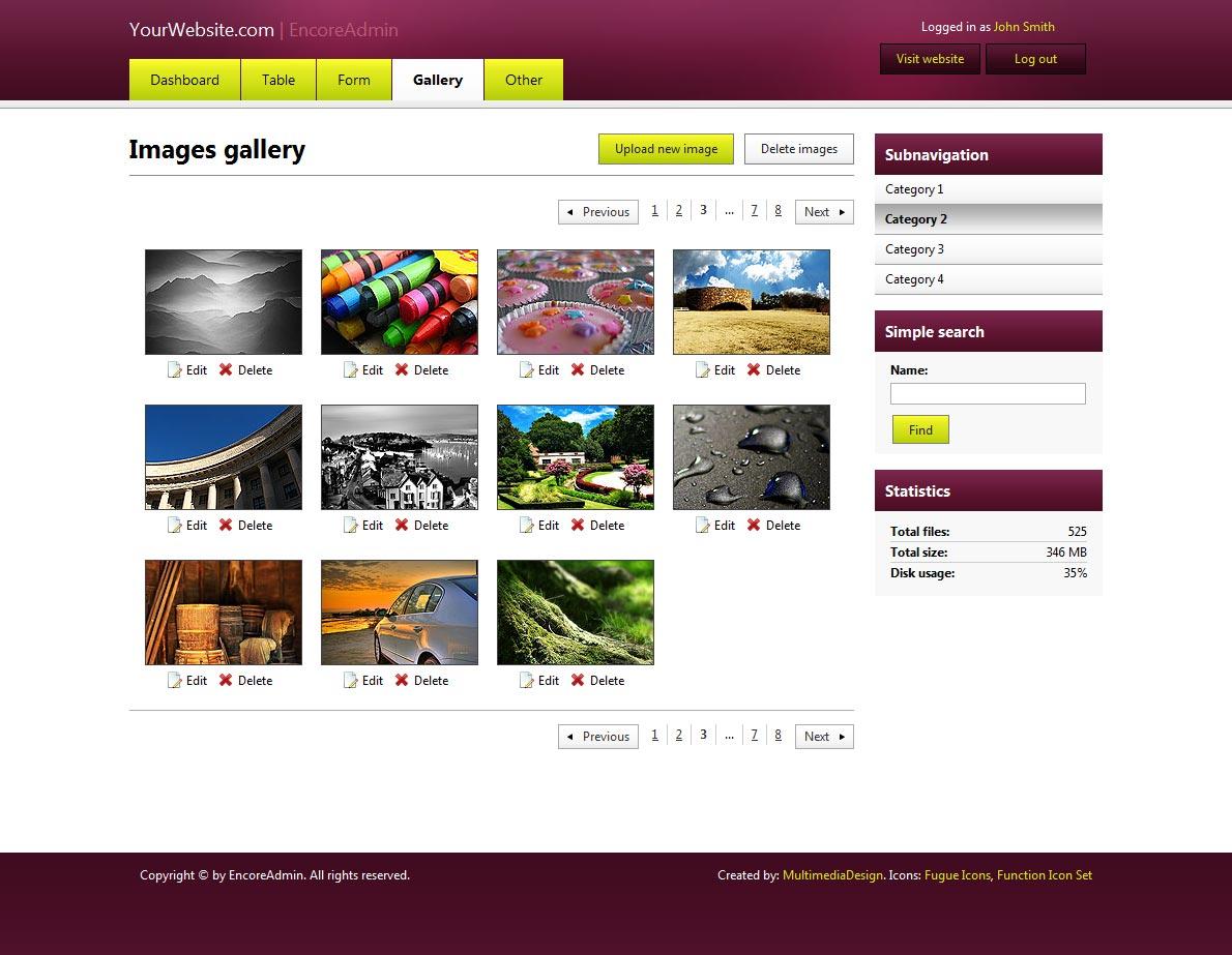 EncoreAdmin - Light, Fast & Flexible Admin Skin - Wine skin on images gallery page. Straight corners applied (default)