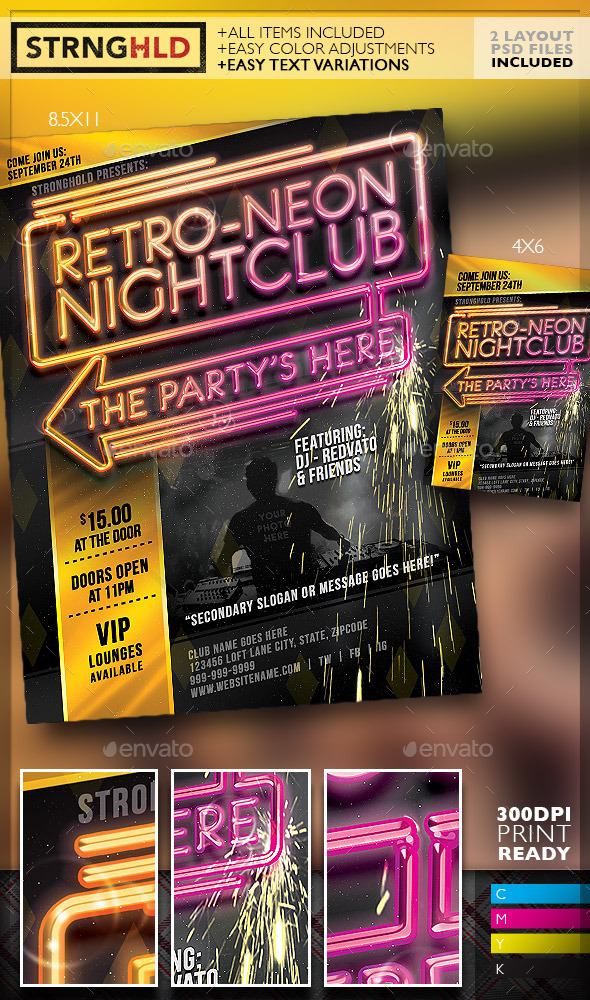 GraphicRiver Retro Neon Party Flyer Template 10804121