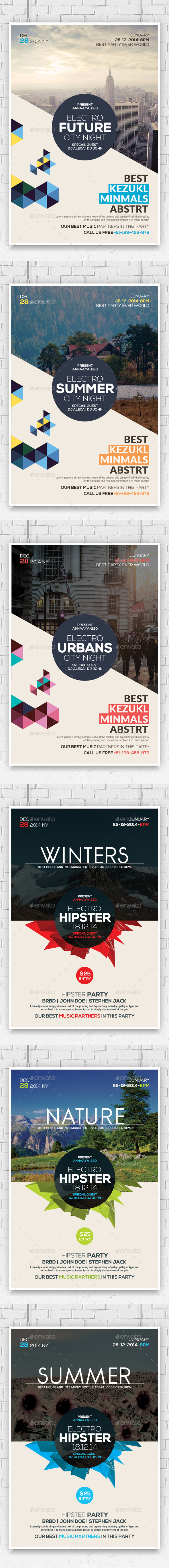 GraphicRiver Hipster Party Flyers Bundle 10804434