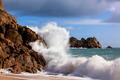 Wave Crashing on Rocks Cornwall England - PhotoDune Item for Sale