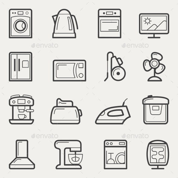 GraphicRiver Home Appliances Line Icons 10805350