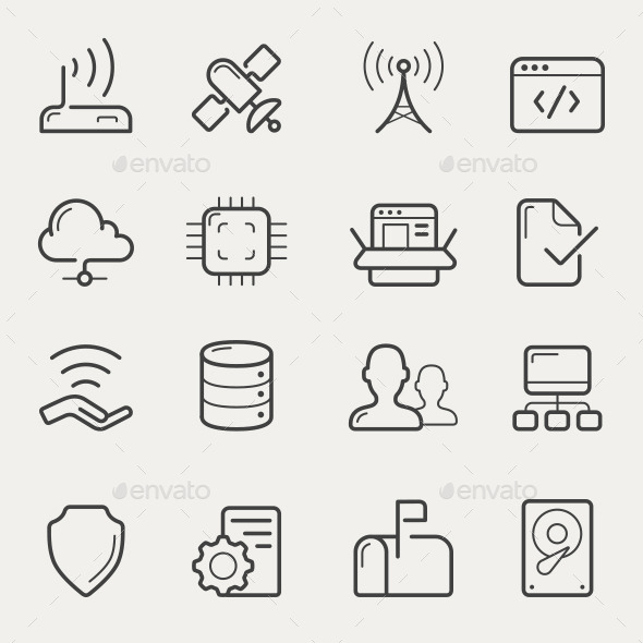 GraphicRiver Network and Servers Line Icons 10805355