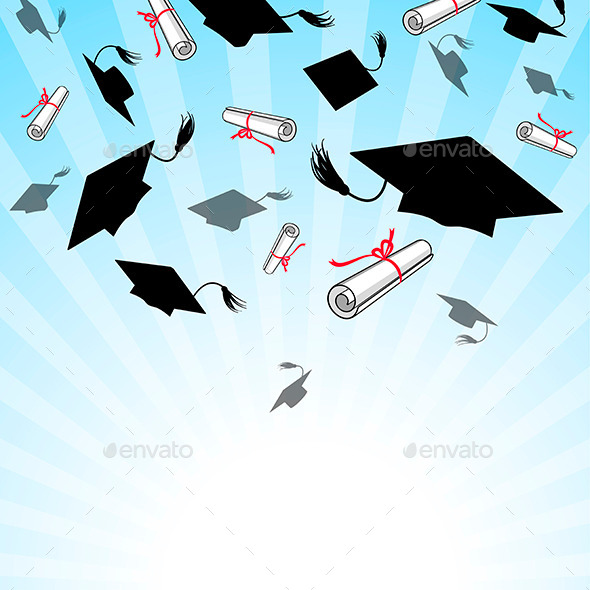 GraphicRiver Graduation Caps in the Sky 10805425