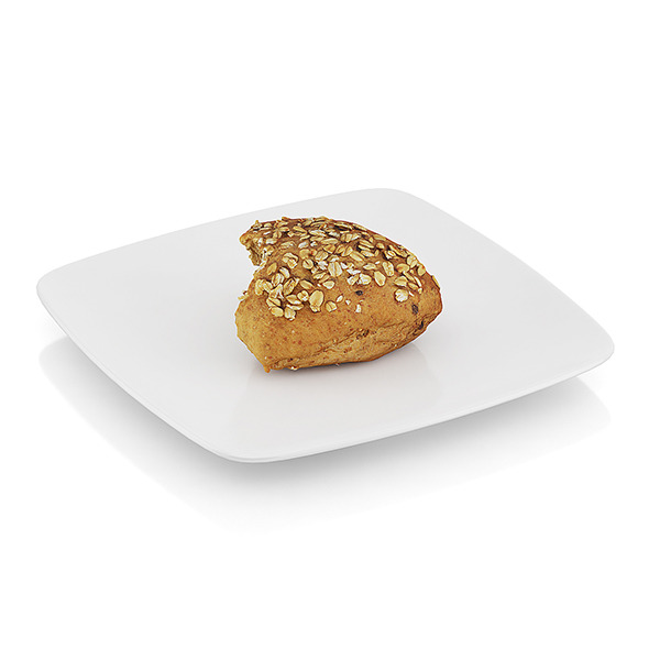 Bitten wholegrain roll - 3DOcean Item for Sale