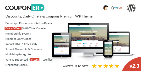 Couponer - Coupons & Discounts WP Theme - Directory & Listings Corporate