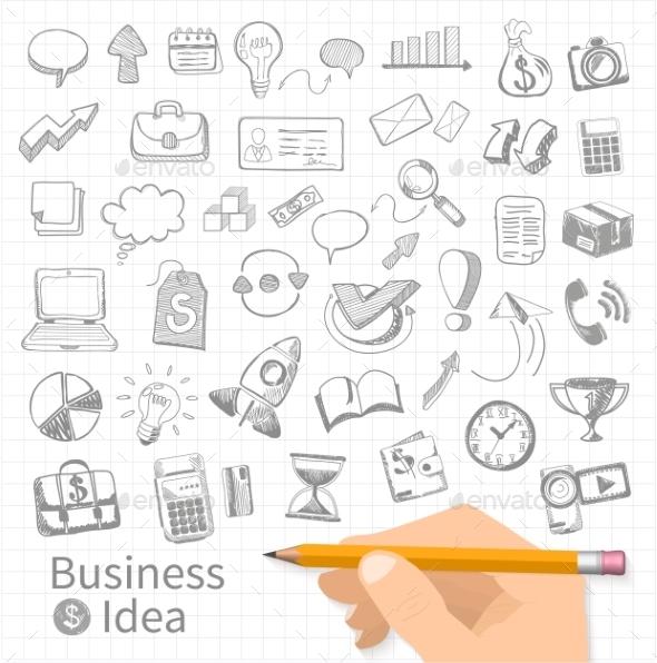 GraphicRiver Set of Doodle Business Management 10806340