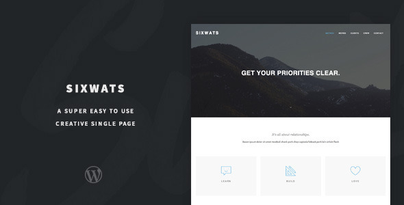 ThemeForest SIXWATS An Easy To Use One Page Theme 8675974