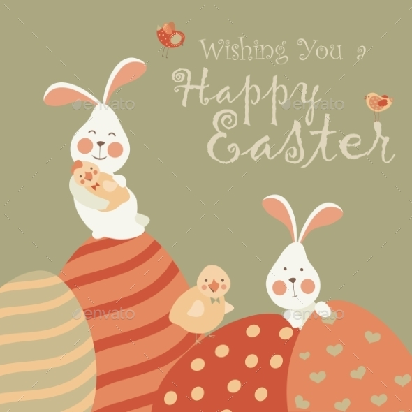 GraphicRiver Easter Bunnies and Easter Eggs 10806523