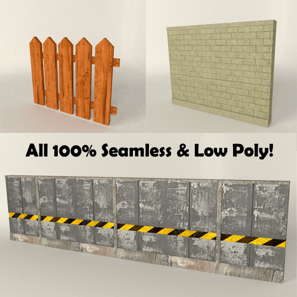 3DOcean Fence Wall Seamless Set low poly 10808355