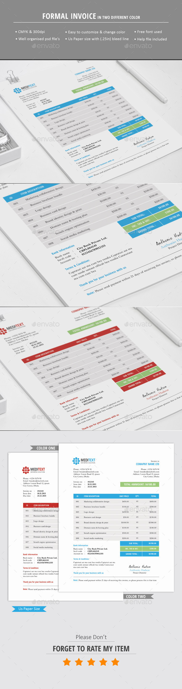 GraphicRiver Formal Invoice Template 10809239