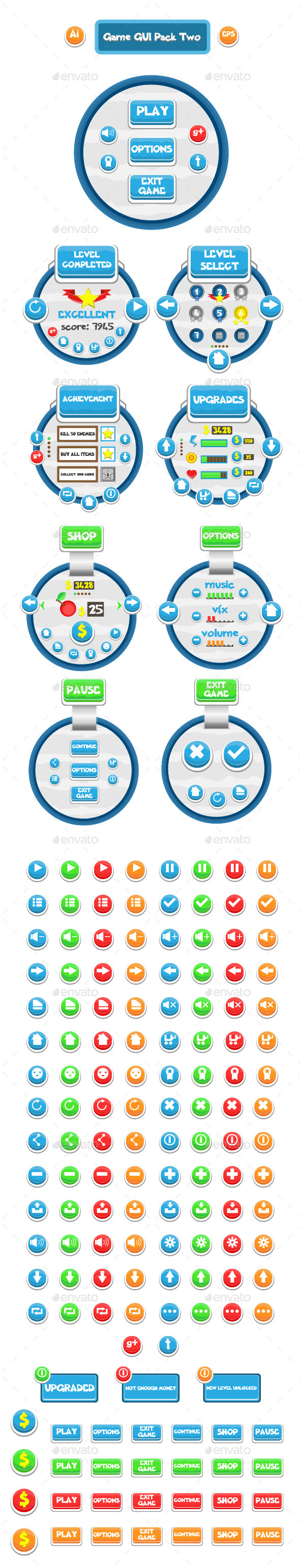 GraphicRiver Game GUI Pack Two 10809269