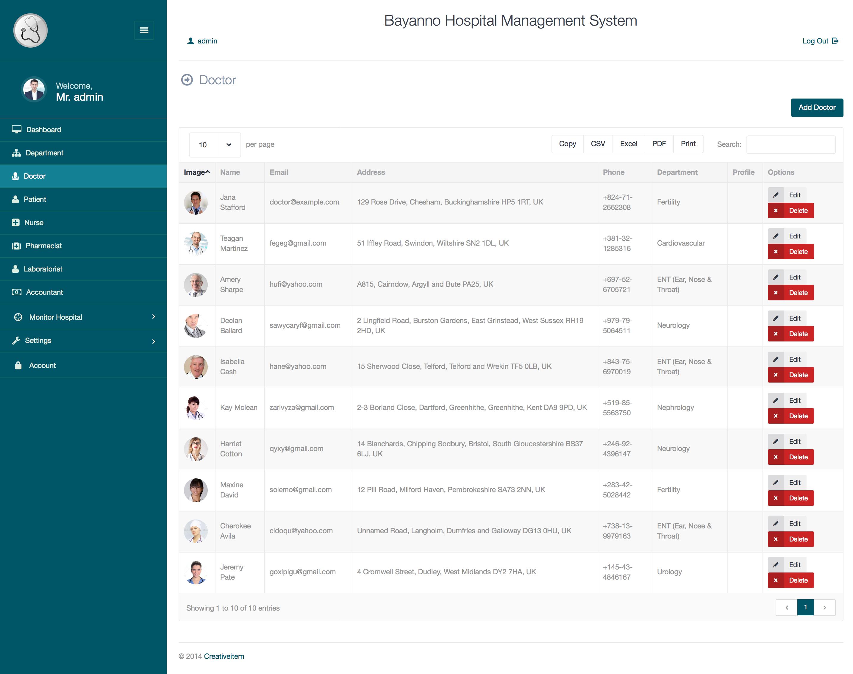 Bayanno Hospital Management System By Creativeitem